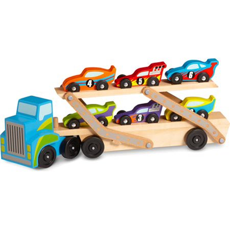 - Melissa & Doug Mega Race-Car Carrier - Wooden Tractor and Trailer With 6 Unique Race Cars