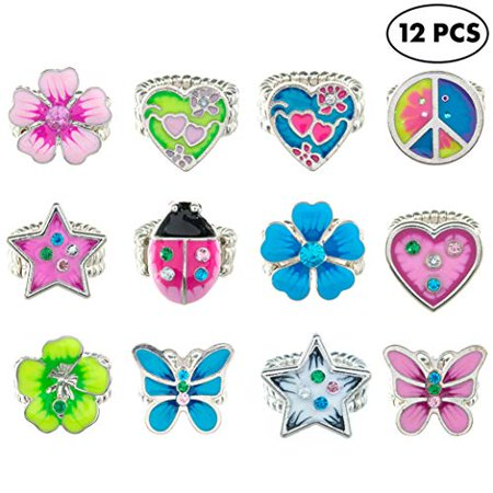12 Pcs Stretch Rings for Kids with Rhinestone Charms - Random Colors Assortment - Cute Designs - Great Birthday Party Favors - Rhinestone Rings