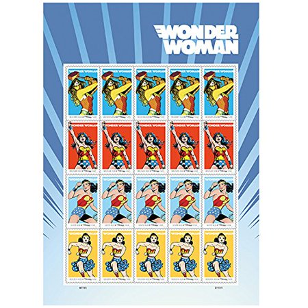 Wonder Woman 1 Sheet of 20 USPS Forever First Class Postage Super Hero Justice Equality Peace (Awareness Postage)