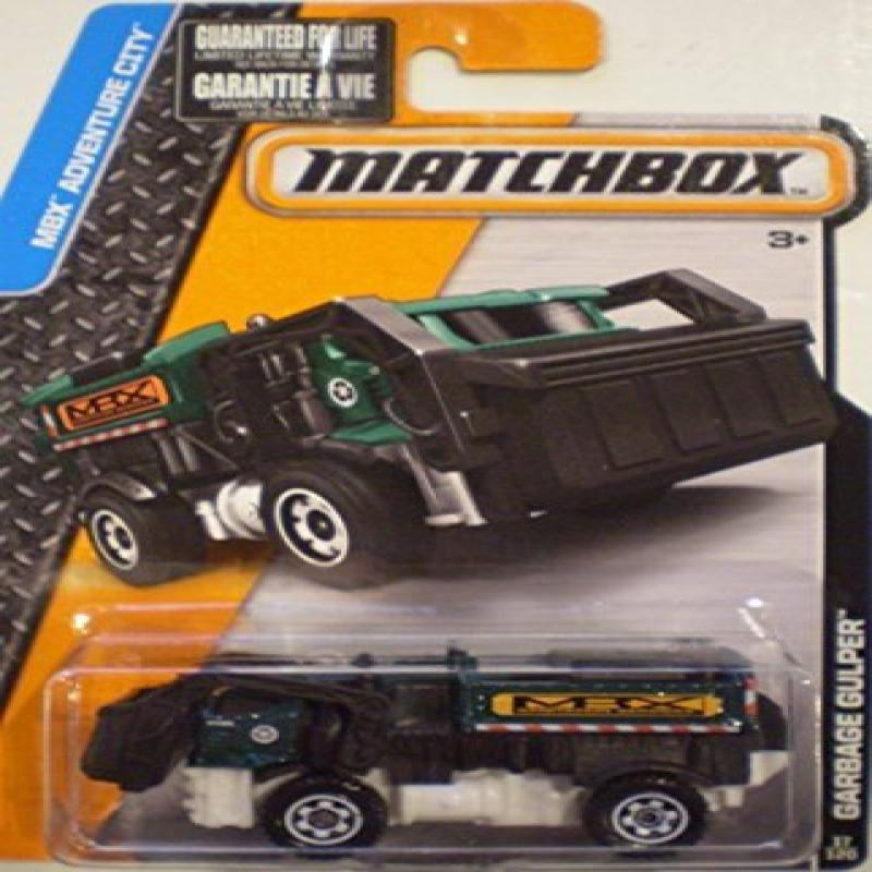 Matchbox 2015 MBX Adventure City Garbage Gulper (Garbage Truck) 17 120, Green and Black by