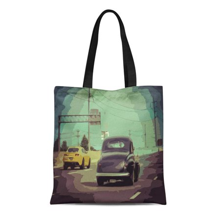 ASHLEIGH Canvas Tote Bag Driving Old Vintage Car From Simple Garage Motor 50S Reusable Handbag Shoulder Grocery Shopping (Vintage Motor Garage)