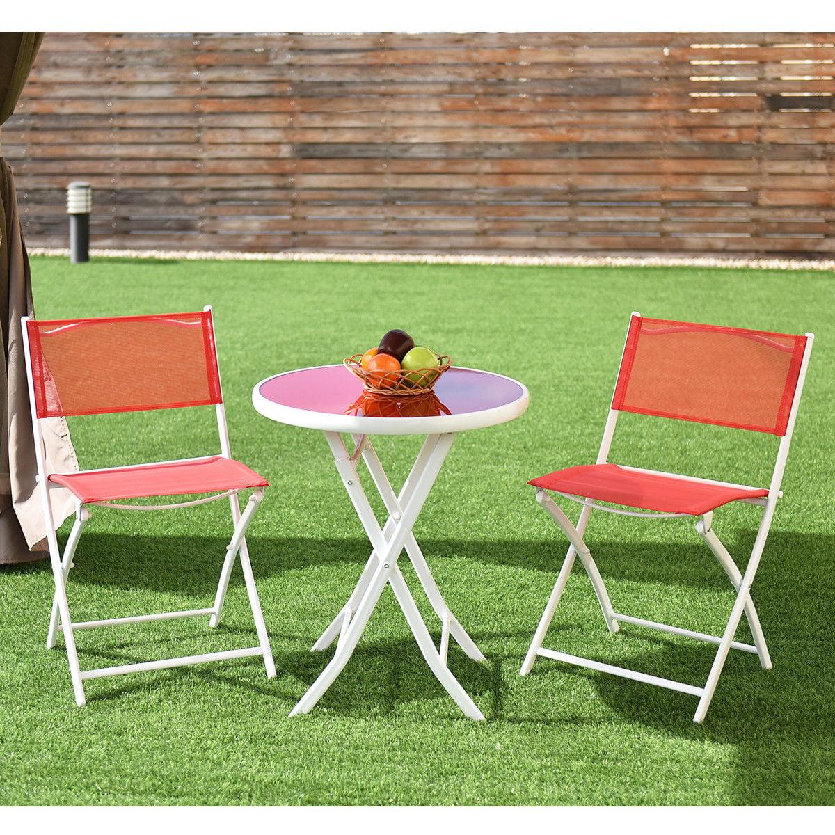 3pcs Folding Bistro Table Chairs Set