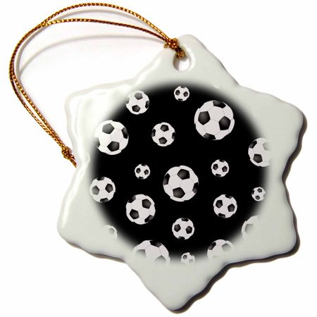 3dRose Soccer ball pattern. Black and white British football. sport sports sporty sporting game team player, Snowflake Ornament, Porcelain,