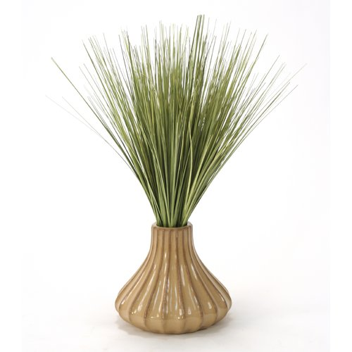 Distinctive Designs Basil Grass in Round Tapered Ceramic Decorative Vase