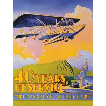 Hawaiian Airlines - 40 Years of Service Canvas Art - CE White (18 x 24)