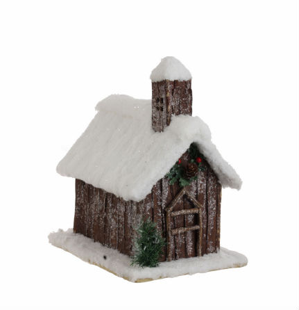 """12"""" Snow Flocked and Glittered Woodland Country Cabin Christmas Table Decoration"""