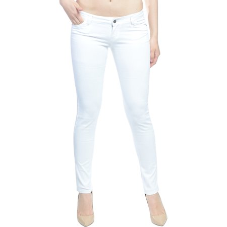 Hey Collection Juniors Brushed Stretch Twill Low Rise Pants Skinny Jeans For