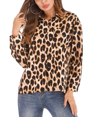b943d4993bf7e3 Free shipping. Product Image SAYFUT Womens Plus Size V Neck Leopard Print  Top Casual Tunic Long Sleeve Button Down Shirt