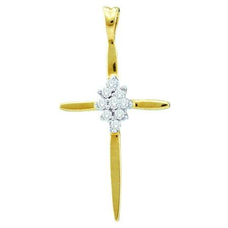 Womens 10k Gold Pendant - 10k Yellow Gold Womens Natural Round Diamond Cluster Christian Cross Fine Pendant (.50 cttw.)