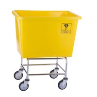 R&B Wire Products 466PTY 6 Bushel Elevated Poly Truck, Yellow - 31.5 x 21.5 x 21x 37.5 in.
