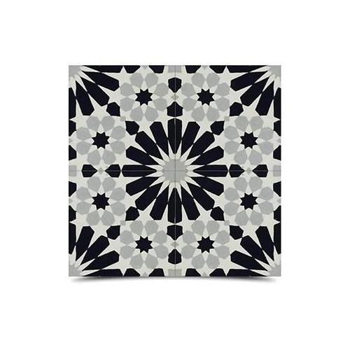 Moroccan Mosaic Agdal Grey and Black Handmade Moroccan 8 x 8 inch Cement and Granite Floor or Wall Tile (Case of 12)