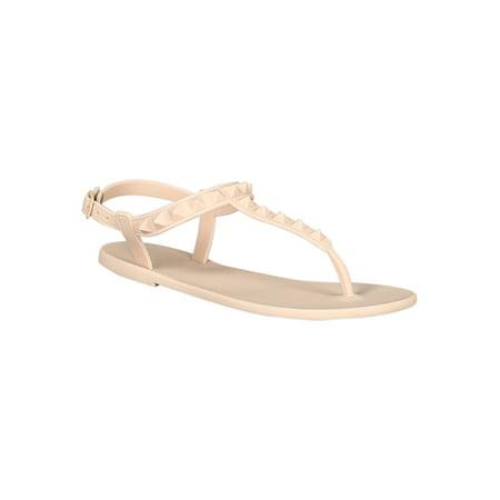 0a3ed912d3ff Qupid - Women Jelly Studded T-Strap Flat Sandal 18311 - Walmart.com