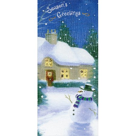 Designer Greetings Seasons Greetings Snowman and Home 8 Christmas Gift Card / Money - Photo Holder Christmas Cards