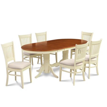 M&D Furniture SOMI7-BCH-C 7 Piece dining room set table with a butterfly leaf and 6 dining chairs in Buttermilk & Cherry finish ()