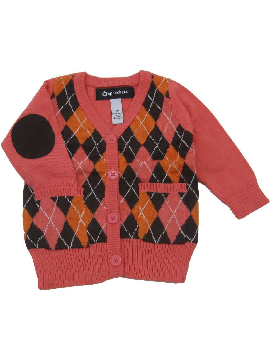Little Girls Orange Red Argyle Pattern V-Neck Long Sleeved Sweater 2T-6X