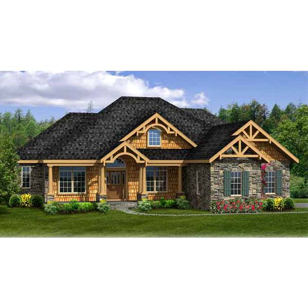 TheHouseDesigners-4968 Craftsman Ranch House Plan with Walkout Basement Foundation (5 Printed Sets)
