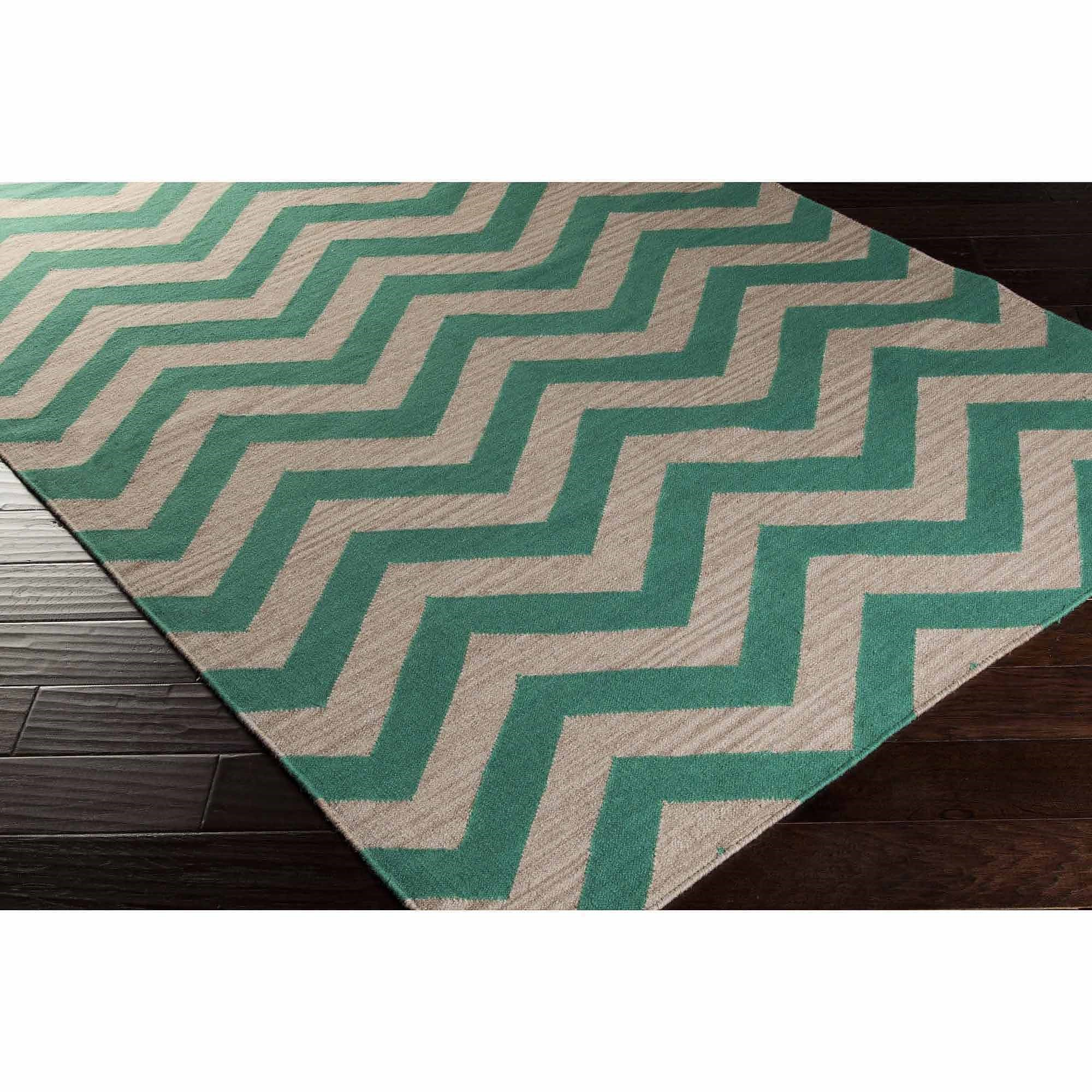 Art of Knot Laughlin Hand Woven Chic Chevron Flatweave Wool Area Rug, Emerald