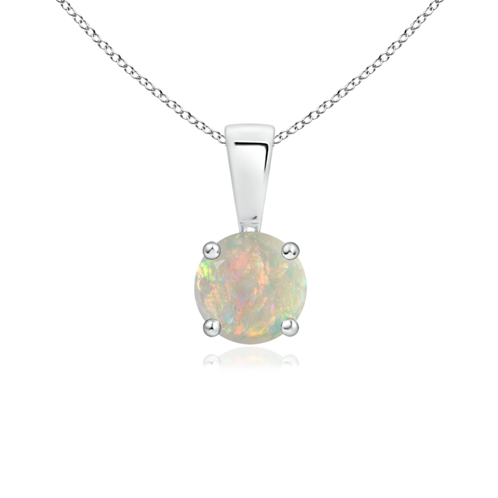 October Birthstone Pendant Necklaces Prong Set Round Opal Solitaire Pendant in 950 Platinum (5mm Opal)... by Angara.com