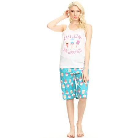 3467B Womens Bermuda Set Sleepwear Pajamas Woman Sleeveless Sleep Nightshirt White (The Sleep Ladys Good Night Sleep Tight)