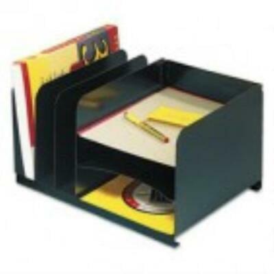 Horizontal Combo Organizer - SteelMaster Vertical/Horizontal Combo Organizer, Six Sections, Steel, Black