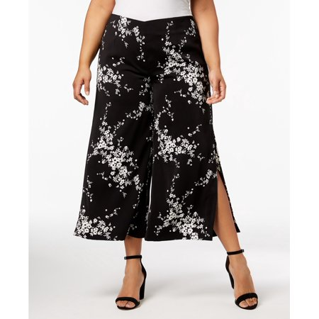 NY Collection - Printed Slit-Cuff Culottes - Plus - - Printed Culottes