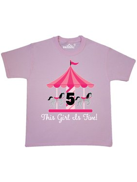 021a4f33a32b9 Product Image 5th Birthday Girls Carousel Horse Youth T-Shirt