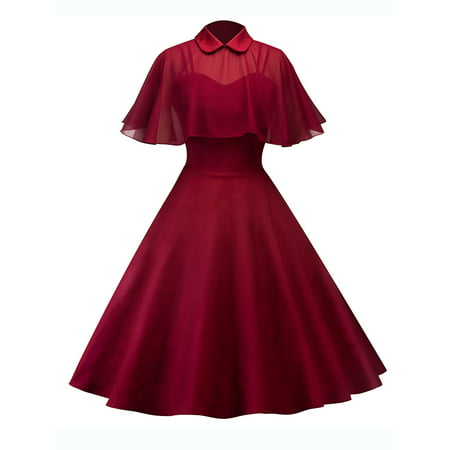 50s Womens Vintage Rockabilly Pinup Strap Flare Swing Evening Formal Party Dress with Cloak Ladies Retro Prom