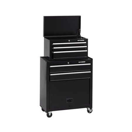 - Waterloo Industries MM26TCBBK5 Tool Center, 5-Drawer With Casters, Black, 26-In.