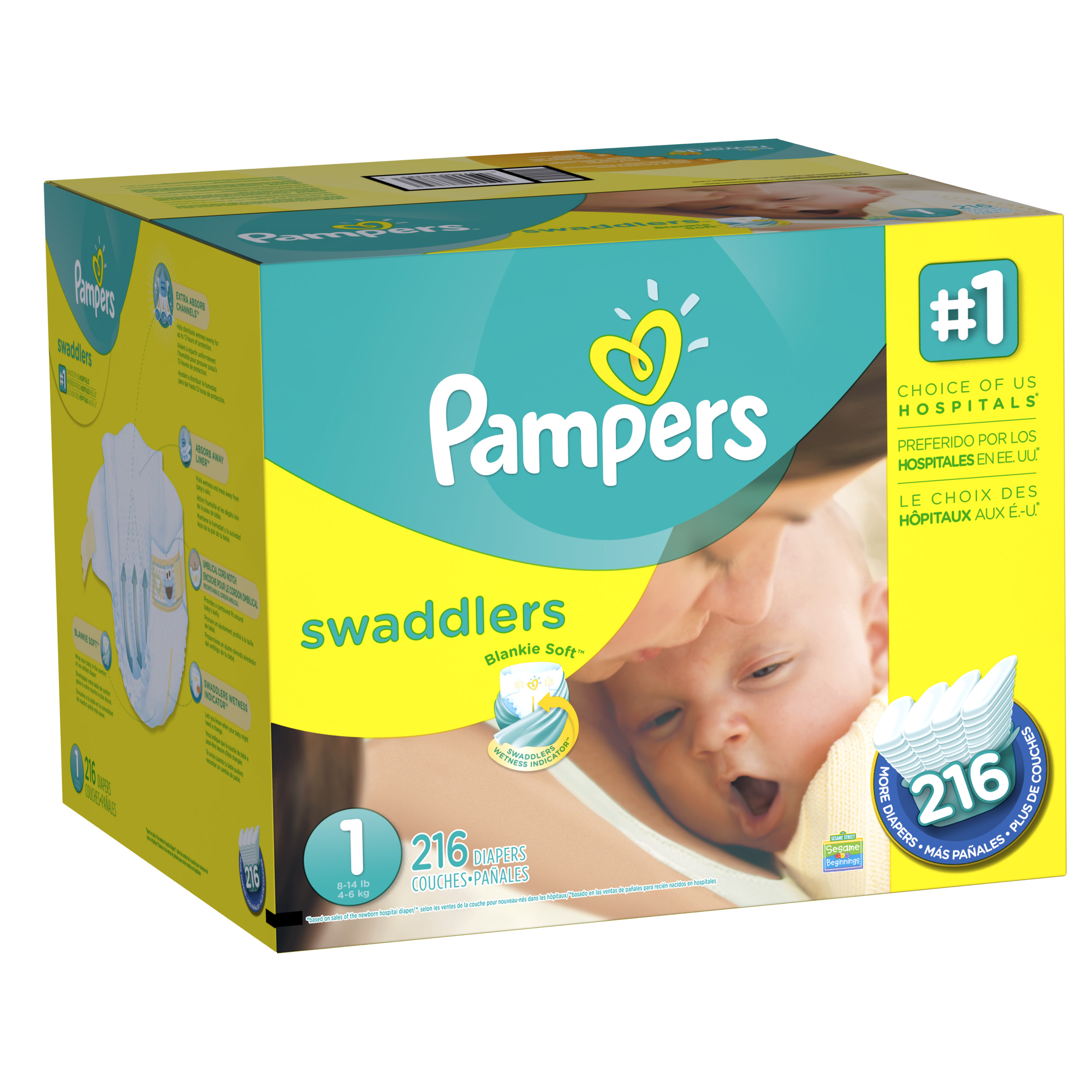 Pampers Swaddlers Economy Pack Plus Diapers (Choose Size and Count)