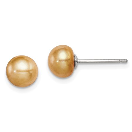 925 Sterling Silver 7mm Freshwater Cultured Button Pearl Yellow Post Stud Earrings Ball Fine Jewelry Gifts For Women For Her - image 6 of 6