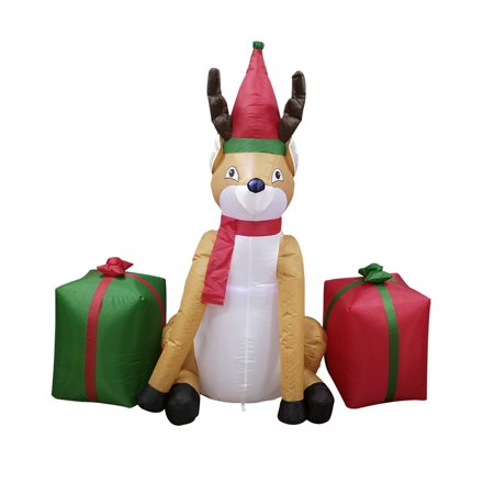 ALEKO Inflatable Reindeer with Presents UL Certified Blower and LED Lights - 4 Foot ()