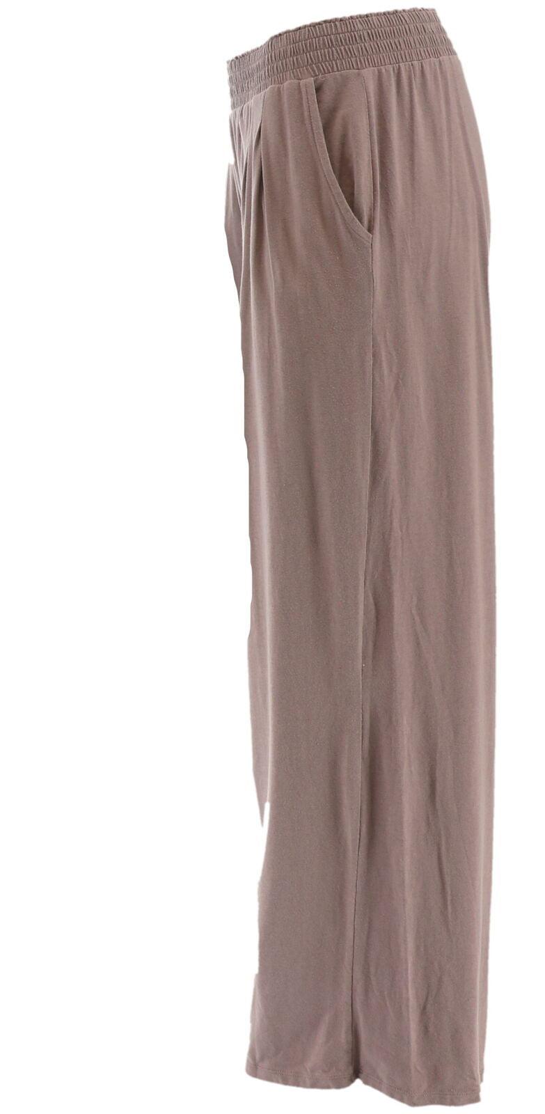 AnyBody Loungewear Cozy Knit Wide-Leg Pants Smokey Taupe S NEW A347172