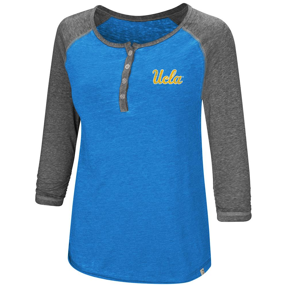 Womens UCLA Bruins Henley 3/4 Long Sleeve Tee Shirt - S