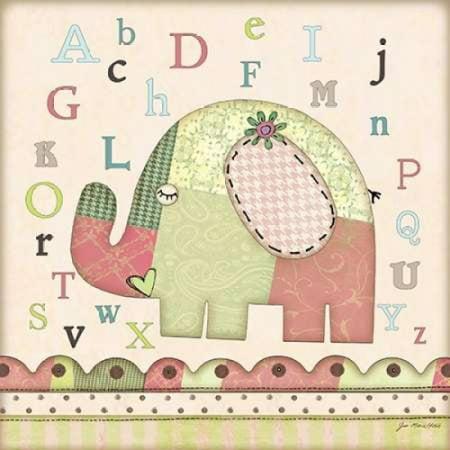 Alphabet Elephant (Alphabet Elephant Poster Print by Jo Moulton)