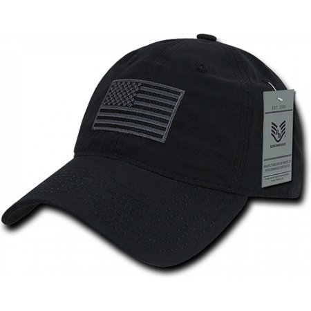 RapDom USA Tonal Flag Relaxed Ripstop Mens Cap [Black - Adjustable]