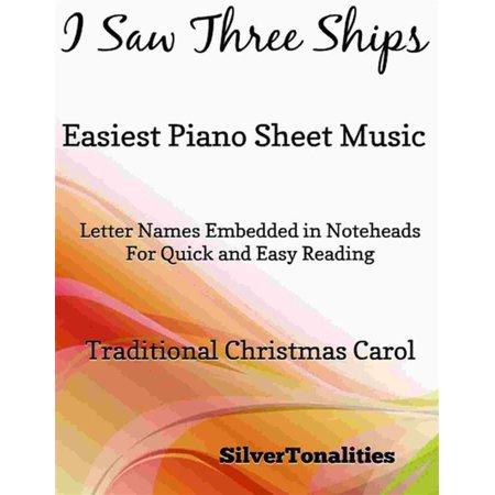 I Saw Three Ships Easiest Piano Sheet Music - eBook (Music Slip)