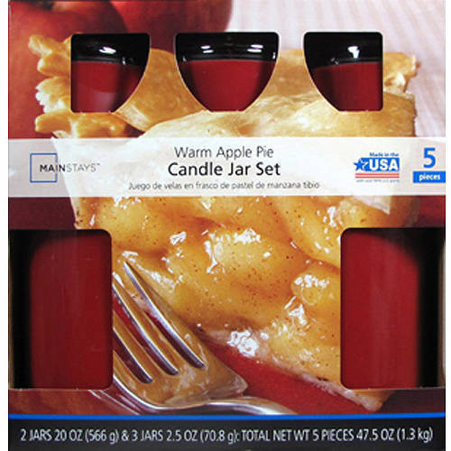 Mainstays 5 pc Value Pack Jar Candle Warm Apple Pie, Red