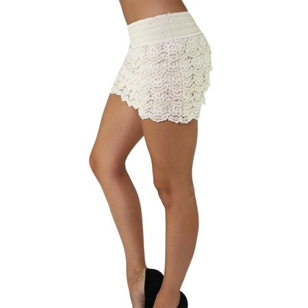Womens Four Tiered Lace Crochet Shorts with Elastic