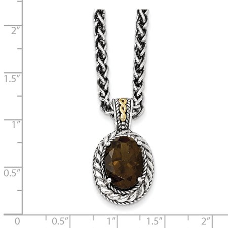Sterling Silver Two Tone Silver And Gold Plated Sterling Silver w/Antiqued Smoky Quartz Necklace - image 1 de 2