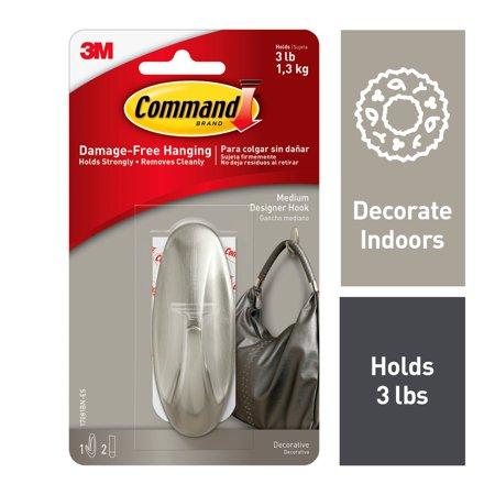 Command Designer Hooks Brushed Nickel Large 1 Hook 2 Strips Pack