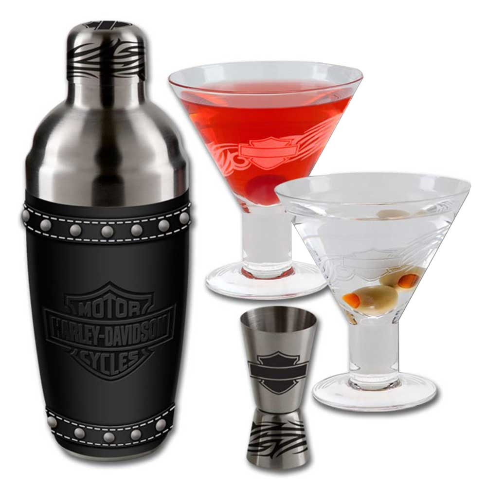 Harley-Davidson Bar & Shield Martini Glass Set, Stainless Steel HDL-18730