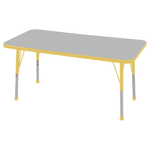 Rectangular Activity Table in Yellow and Gray (Toddler: 72 in. W x 30 in. D x 15 in. - 23 in. H)