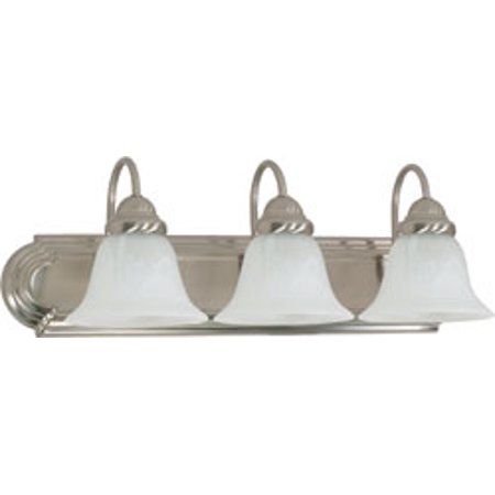 Replacement for 60/321 BALLERINA 3 LIGHT 24 INCH VANITY WITH ALABASTER GLASS BELL SHADES BRUSHED NICKEL TRADITIONAL