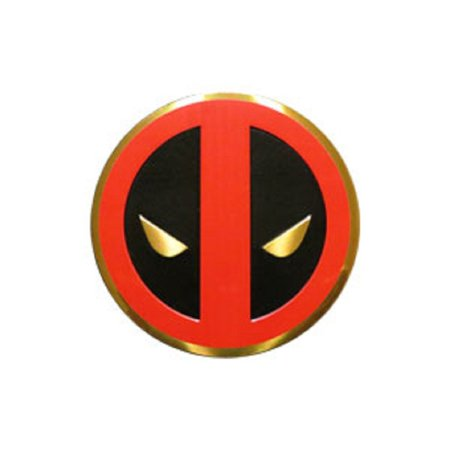 Classic DEADPOOL Icon, Officially Licensed Marvel Artwork, Premium Vinyl Gold Metallic Finish, 3cm Metal STICKER](Deadpool Merchandise)