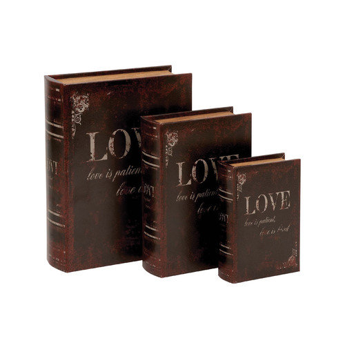 Woodland Imports Wooden and Leather Book Box (Set of 3)