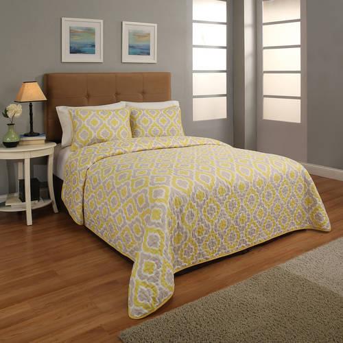 Constella Printed 3-Piece Reversible Bedspread Set, Navy Color, King Size