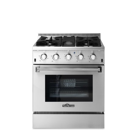 """Thor Kitchen 30"""" HRG3080U Dual Fuel Freestanding Gas Ranges with Oven, in Stainless Steel/Silver CSA certified Convection Oven"""