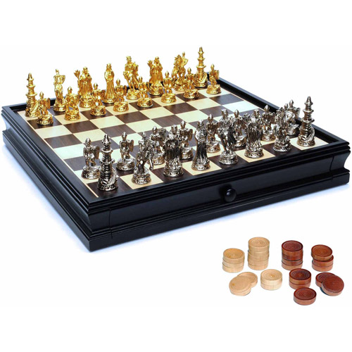 Medieval Chess and Checkers Game Set, Pewter Chessmen and Black Stained Wood Board with Storage Drawers,... by Generic