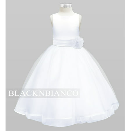 Black N Bianco Tulle Flower Girl Dress White w/ Colored Sash, Bow and Flower - Blue Dress For Girls