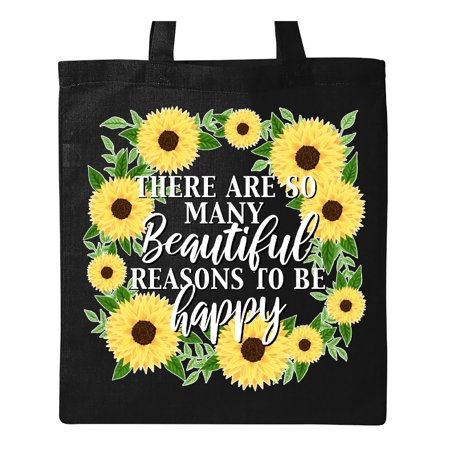 There are so many Beautiful Reasons To Be Happy with sunflower wreath Tote Bag Black One Size](Sunflower Bag)